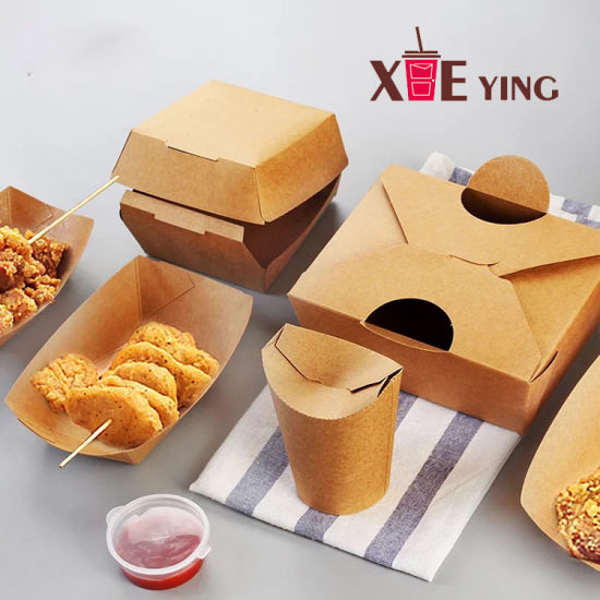 Disposable Custom Packaging Paper Burger Clamshell Box for Fast Food