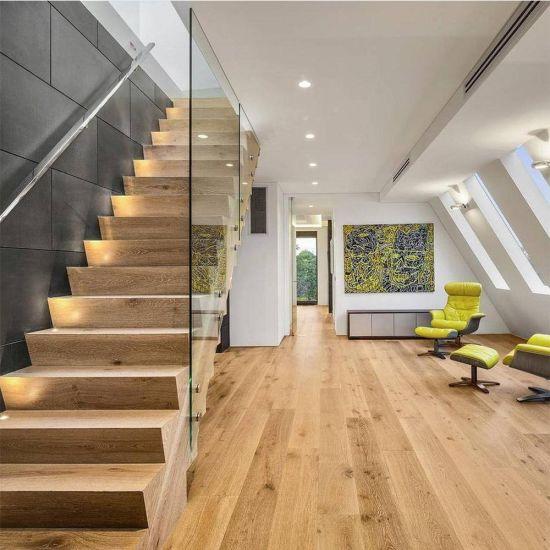 Led Light Under Wooden Tread Floating Stair Case Design