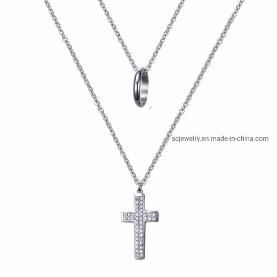 Fashion Jewelry Stainless Steel Cross and Circle Charm Pendant for Women Man pictures & photos