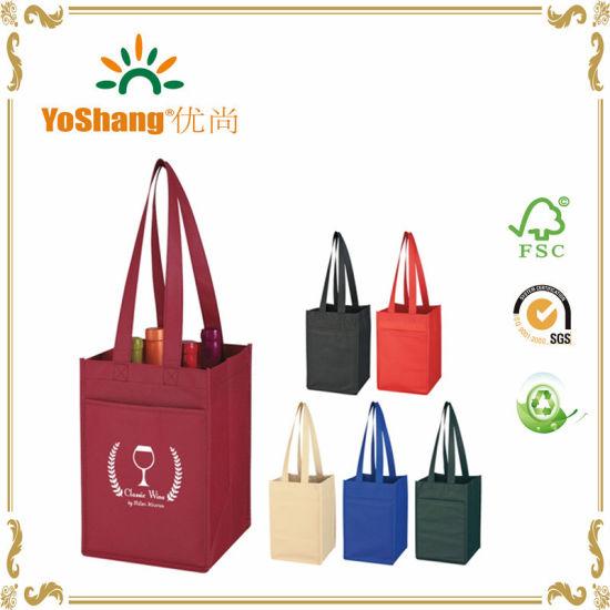 Wholesale Reusable Custom 4 Bottle PP Non Woven Wine Bag