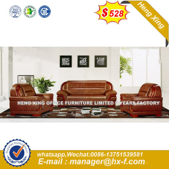 Hot Sale Office Furniture Teak Wood Genuine Leather Sofa (HX-CS100) pictures & photos