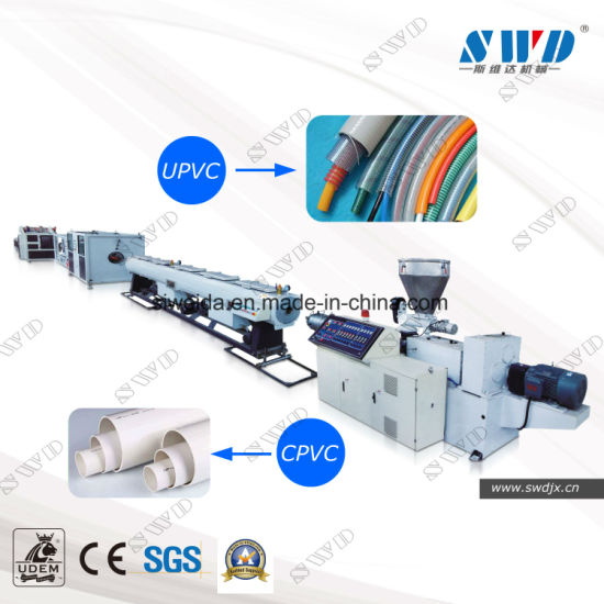 Plastic PVC/CPVC/UPVC Water and Electric Conduit Pipe/Tube (extruder, haul off, cutting winding, belling) Extrusion/Extruding Making Production Line Machine