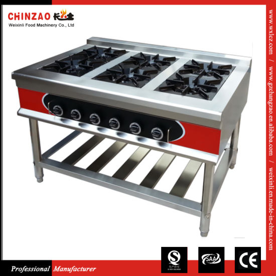 Free Standing Commercial Gas Cooker with 6 Burners