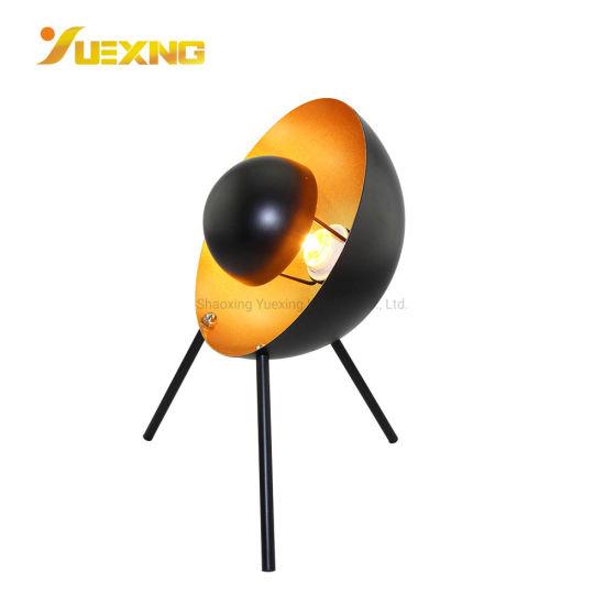 E14 Max40W Unique Design Tripod Shaped Black Gold LED Spot Table Lamp Desk Decoration Light