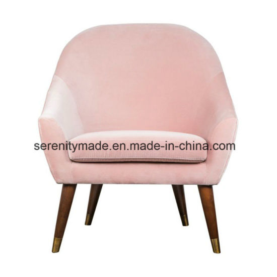 China Modern Living Room Furniture Upholstered Pink Velvet Armchairs ...
