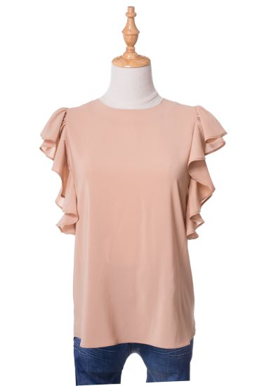 2020 Lady Blouse Casual Loose Pullover Top Ruffles Short Sleeve Chiffon Shirt