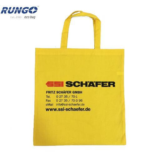 Custom Printed Yellow Cotton Promotional Tote Bag with Handles