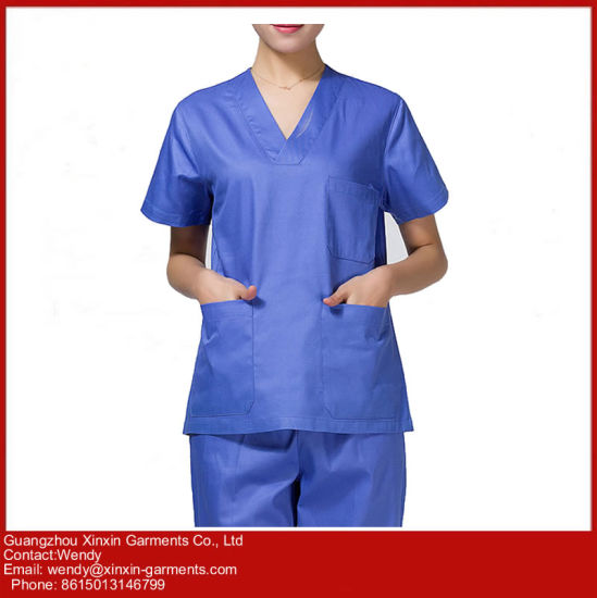 Cheap Customized Fashion Hospital Medical Uniforms Nursing Scrubs (H23) pictures & photos