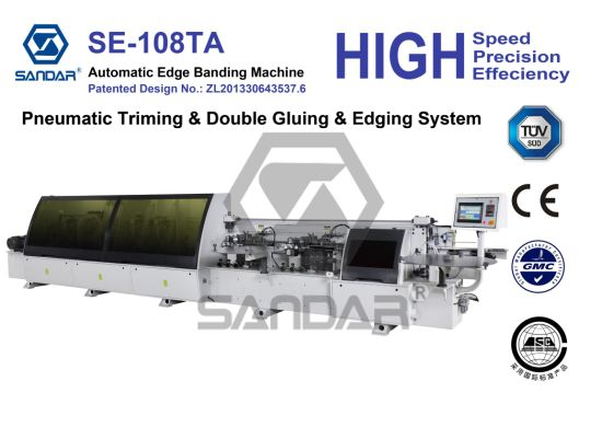 Woodworking Edge Banding Machine with Double Gluing and Edging System