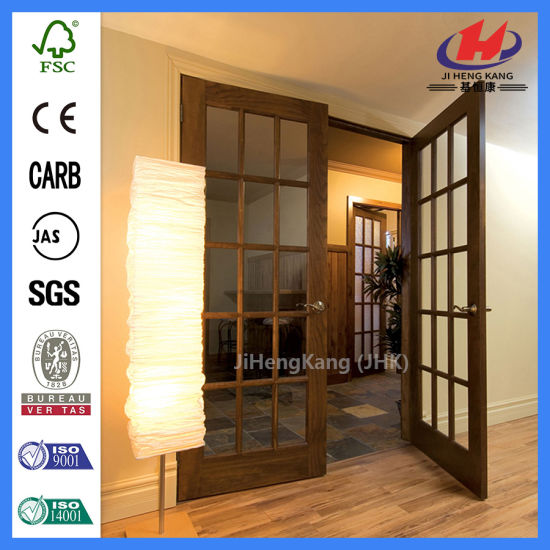 China Folding Sliding Interior Solid Wood Bifold Glass Doors Jhk