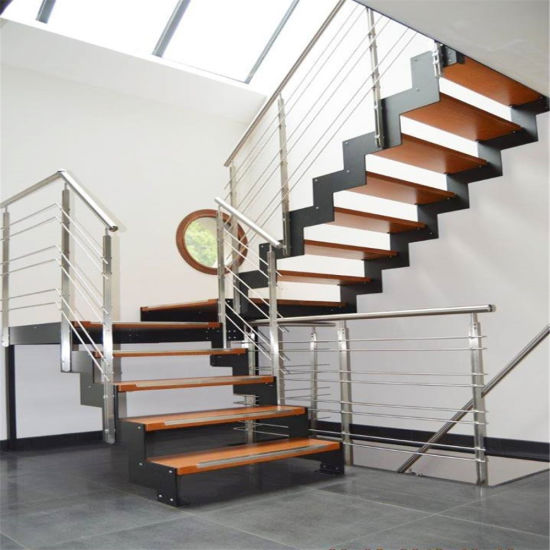 China Stainless Steel Staircase With Solid Wood Steps Cable Railing