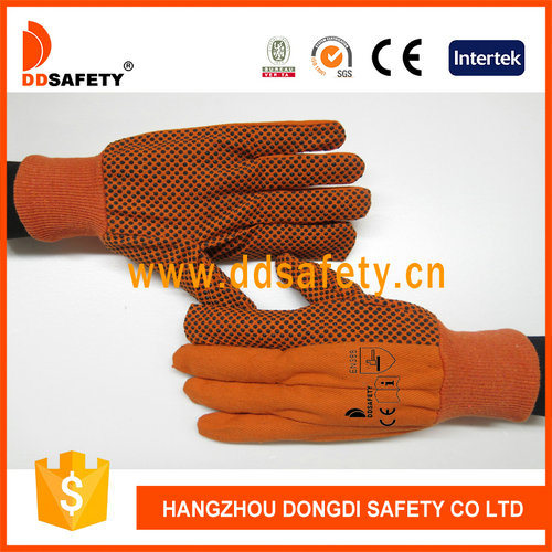 Orange Cotton with PVC Dotted Hand Protection Gloves