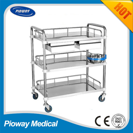 Hospital Medical Three Shelves Stainless Steel Mobile Trolley (PW-803)