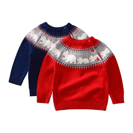 Children's Clothing Chirsmas Style Bear Pullover Knitted Sweater