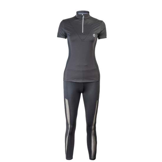 Wholesale Custom Fashion Black Mesh Fabric Zip Embroidery Women's Polo Shirt