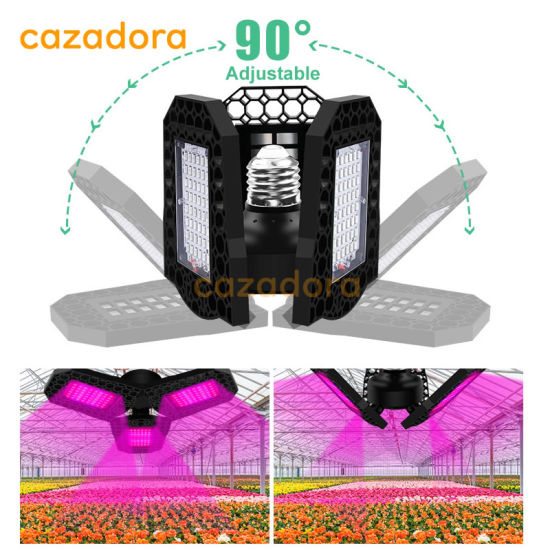 108/126/144LEDs Fan Shape Three-Leaf Folding Plant Lamp Adjustable Full Spectrum LED Grow Lights