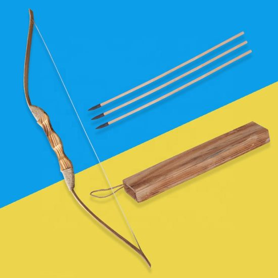 Archery Handmade 3PCS Wood Arrows Quivers Kids Archery Set Bamboo Wooden Bow and Arrow Toy