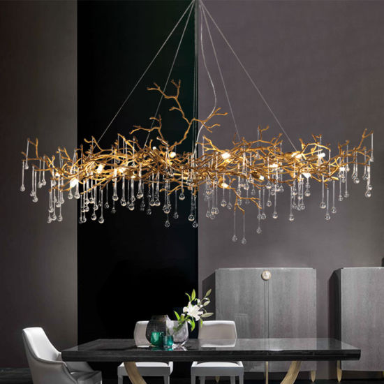 Decorative Project Lighting Crystal Copper Brass Chandelier, Accept Customization