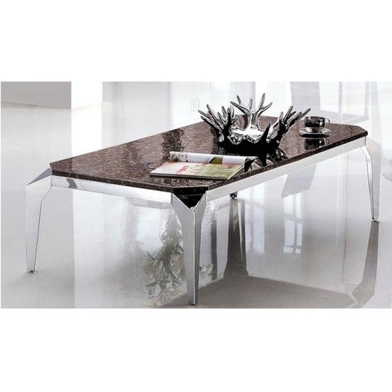 Industrial Modern Design Marble Metal Coffee Table