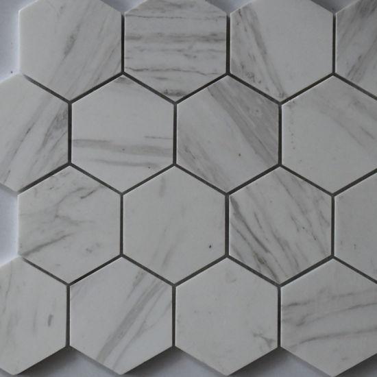 China Hexagon White Grey Marble Stone Mosaic Tile For Kitchen Backsplash China Art Mosaic Building Material