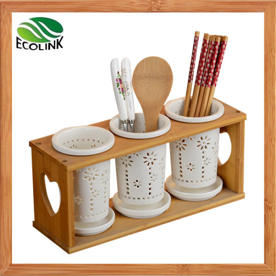China Bamboo Ceramic Kitchen Utensil Holder for Fork Knife ...