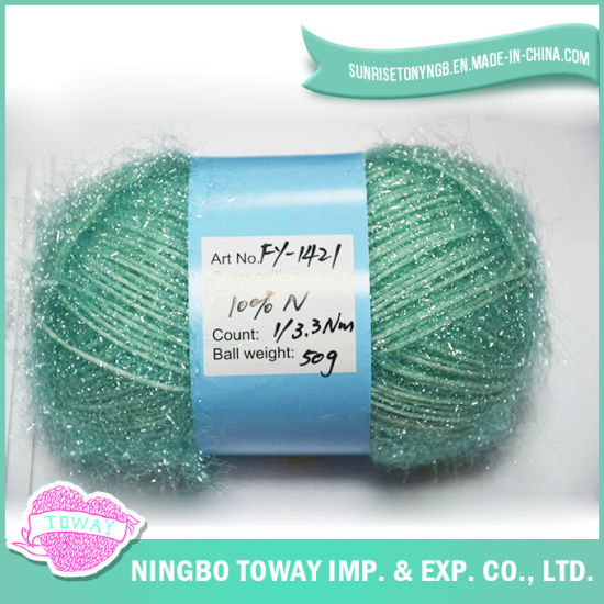 China Yarn Knitting Types Fancy Hollow Tube Glitter Eyelash Yarn