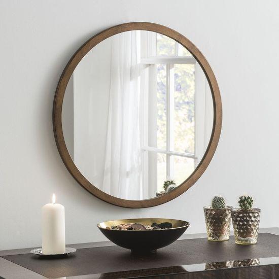 China Simple Design Round Oak Bathroom, Oak Framed Mirrors Bathroom