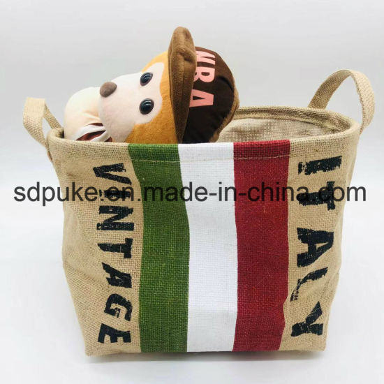 Handmade China Supplier Natural Jute Square Portable Non Woven Storage Basket with Handles    pictures & photos