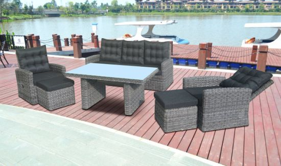 Outdoor Patio Home Hotel Office Round Rattan Wicker Stack Dining Garden Dundee Lounge Sofa Set J709r
