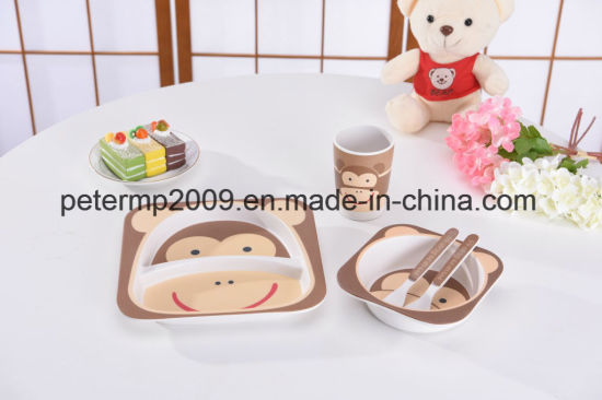 100% Natural Bamboo Fiber Kids Dinner Set with Spoon pictures & photos