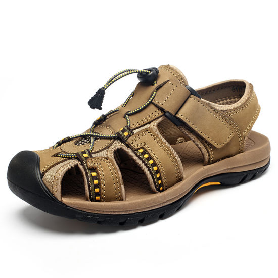 Flat Mens Fashion Leather PU Slippers Sport Sandals pictures & photos