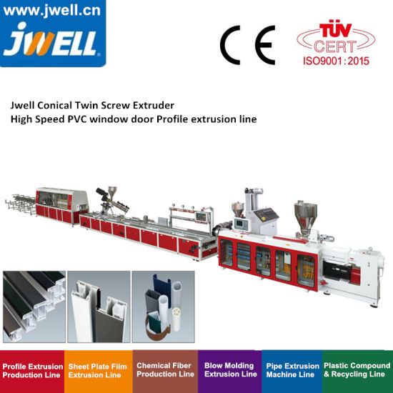China Jwell Machine Custom Wood Plastic Composite PP PE PC ABS UPVC PVC PE WPC Floor Window Door Plate/Panel/Frame/Profile Extrusion Equipment