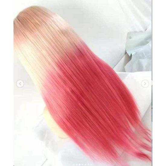 Pink Red Brazilian Virgin Hair Straight Remy Wholesale Swiss Human Hair Full Lace Wig pictures & photos