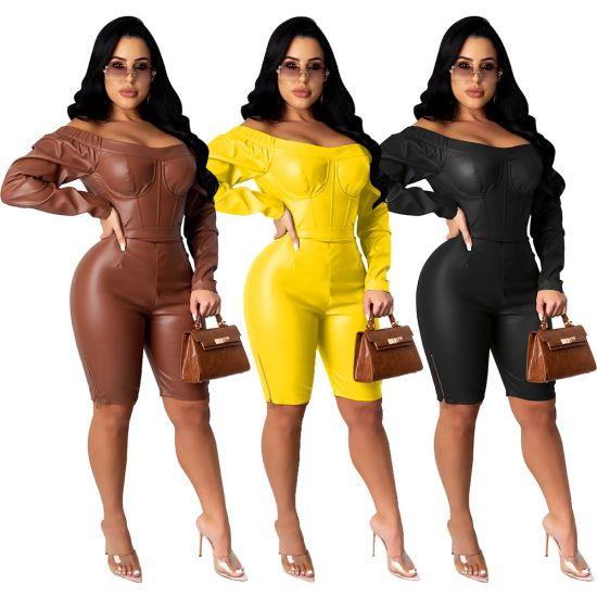 L56165 Hot Selling Women's Casual Zipper off Shoulder PU Leather Jumpsuit