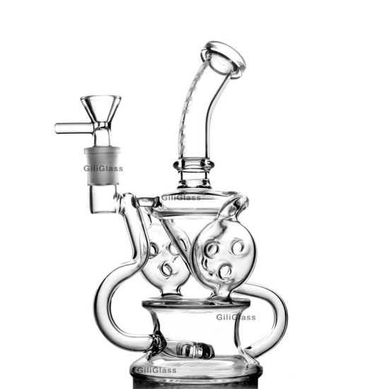 Giliglass 9 Inches Recycler Glass DAB Rigs Oil Rig Vortex Cyclone Wax Water Pipe Heady Somking Bubbler Hookah