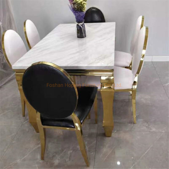 Live on Line Edge Restaurant Table Modern Best Selling Low Price Special Metal Steel Frame Marble Dining Table