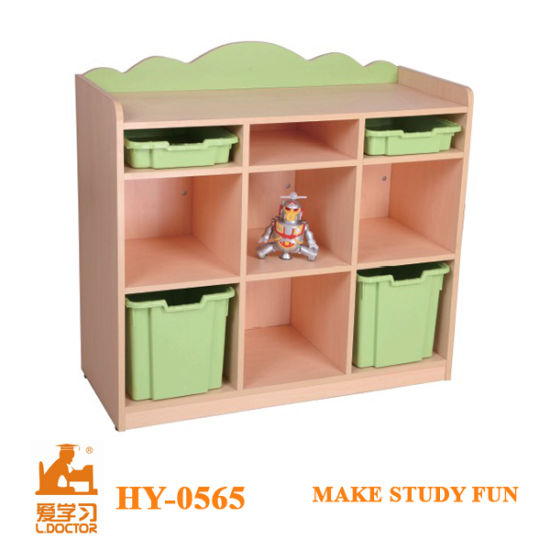 Kindergarten Wooden Toy Storage Cabinet with Plastic Cases