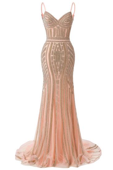 Tulle Mermaid Sequin Spaghetti Straps Formal Evening Dress