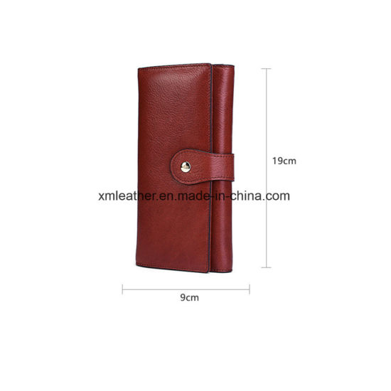 Ladies Red Zip Long PU Leather Wallet pictures & photos