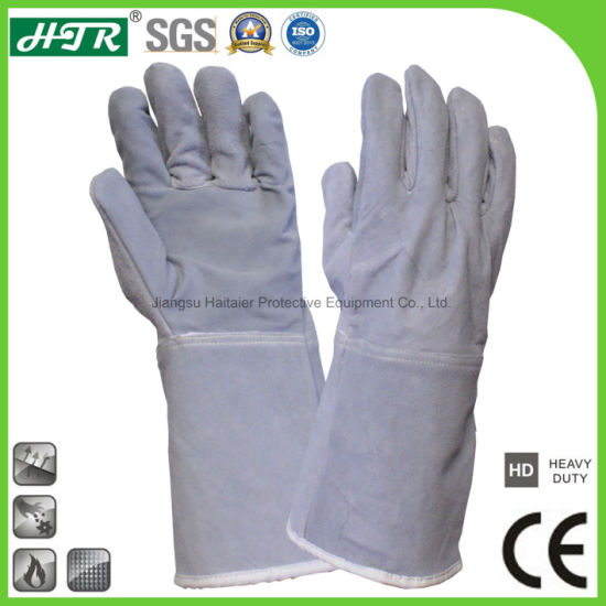 Cow Leather Heat Resistant Industrial Safety Welding Protective Work Gloves with Cotton Seamless Liner pictures & photos