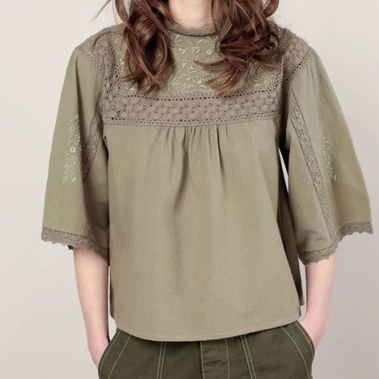 OEM Factory Custom Newest Design Embroider Ladies Blouse Lace Ruffles Blouse