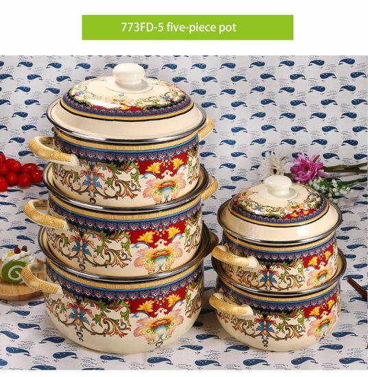 High Quality Kitchenware 5 PCS Enamel Cooking Cassrole Set with Cover