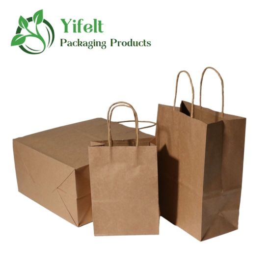 Wholesale Gift Kraft Paper Packaging with Personalization Logo Printed Shopping Bag