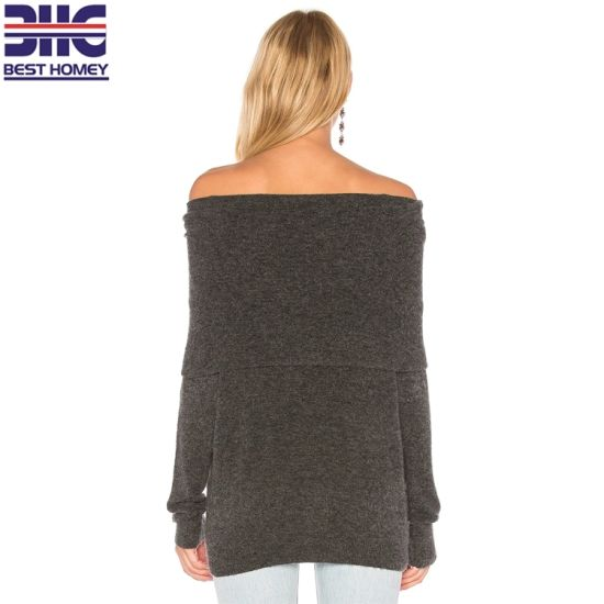 e96cce2c0a6 Women′s Wool Cashmere Blend off Shoulder Top Sexy Knitted Pullover Sweater  for Ladies