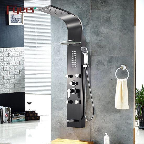 Fyeer Black Shower Panel with 4 PCS Massage Jets