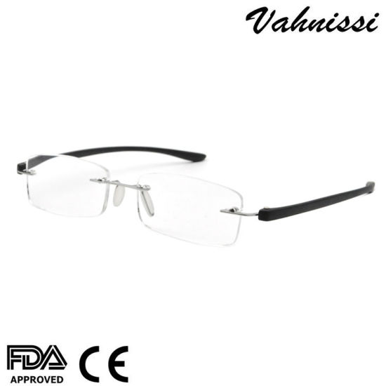 China India Styles FDA PC Temples Metal Rimless Reading