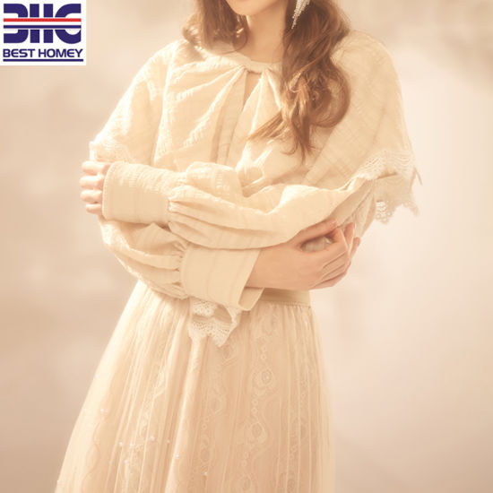 High Quality Pure Apricot Lace Dress with Bead