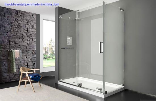 Hot Item L Shape Frameless Slider Shower Door Without Top Header