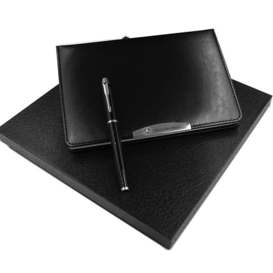 Customized Engraving Style Paper PU Leather Stationery Memo Notebook Set