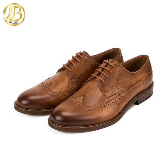 Custom Logo Man Leather Shoe Handmade Brogue Oxford Leather Men Shoes Retro Style